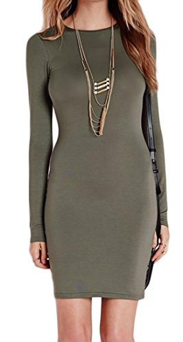 Pencil Dress Crewneck Women's Cromoncent Sleeve Long Green Slim Fit Bodycon xwAw80qng