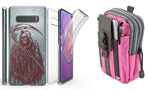 Beyond Cell Tri Max Series Compatible with Samsung Galaxy S10+ Plus with Slim Full Body Self Healing Screen Protector Case (Grim Reaper), Travel Pouch (Pink/Gray) and Atom Cloth