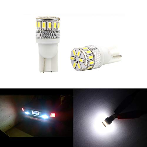 Super Bright T10 194 LED Bulb White 3014 18-SMD 12V LED 194 168 2825 175 W5W Bulb Wedge for License Plate Interior Map Dome Trunk Cargo Side Marker Light (Set of 2) ()