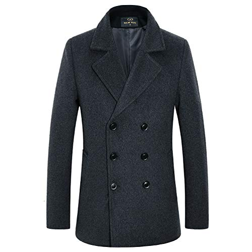 - Men's Premium Wool Blend Double Breasted Long Pea Coat (Grey 3, Medium)