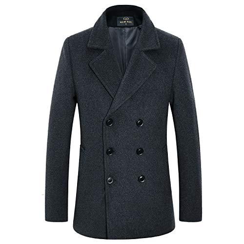 - Men's Premium Wool Blend Double Breasted Long Pea Coat (Grey 3, Medium)