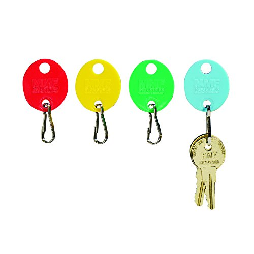 MMF Industries Snap-Hook Key Tags, Plastic, 1.25 Inches Height, Blue/Green/Red/Yellow, 20 per Pack (2018009W47)