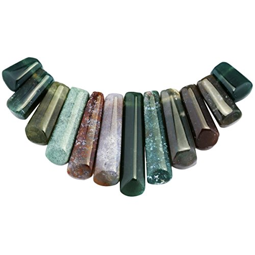 SUNYIK Moss Agate Top Drilled Stone Loose Bead Set for Jewelry (Agate Necklace Wire)