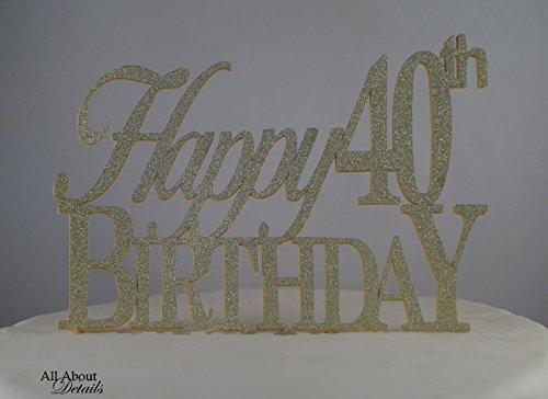 All About Details Gold Happy-40th-birthday Cake Topper