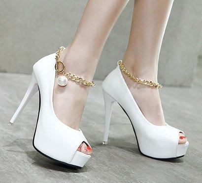 YCMDM sandali donne catena di metallo scarpe tacchi alti impermeabile principessa scarpe aperte davanti banchetti , white , 37