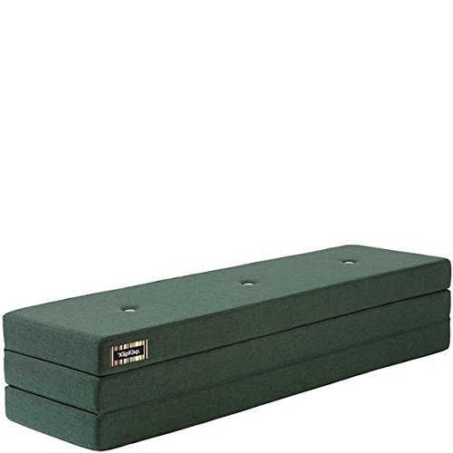 by KlipKlap 3 fold Multipurpose Furniture - Dark Green with Light Green Button, Normal length 180 cm