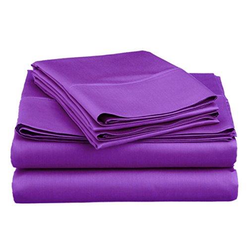 Spirit Linen Hotel 5Th Ave Super Bright Collection Microfiber Sheet Set, Queen, Purple