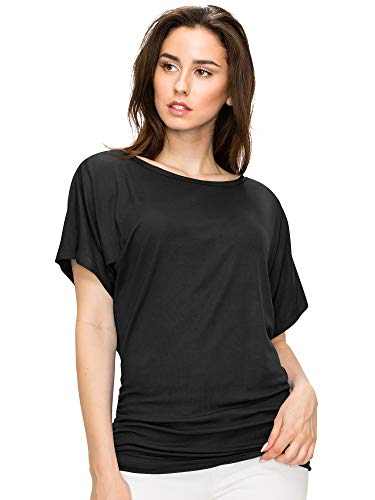 Made By Johnny MBJ Women's Solid Short Sleeve Boat Neck V Neck Dolman Top with Side Shirring