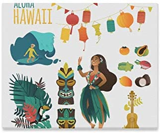 Amazon Com Wiedlkl Girl Wall Art Hawaiian Culture Traditional Symbols Flat Cartoon Wall Art Kitchen Decor Bathroom Wall Art Print Decor For Home 20x16 Inch Posters Prints