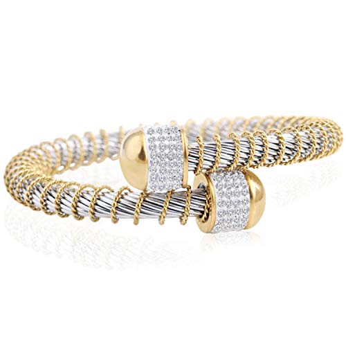 Designer Inspired Titanium Stainless Steel Vintage Signature Twisted Cable Bracelet Bangle (Gold Wire Wrap and Swarovski ()