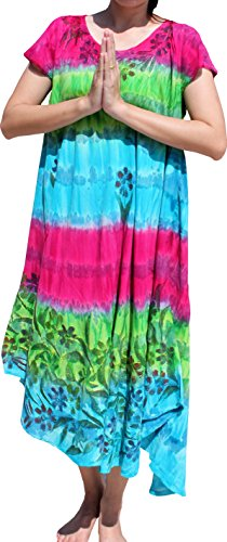 Full Funk Brightly Tie Dyed Capri Throw Over Sac Summer Floral Dress, X-Large, Pink Green Blue ()