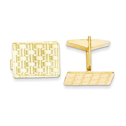 14k Yellow Gold Rectangular Basket-Weave Design Cuff Links ()