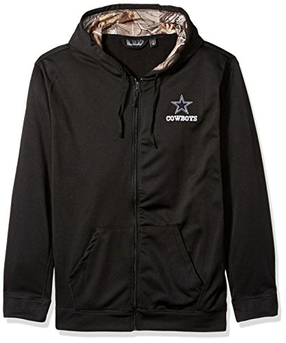 - Dunbrooke Apparel NFL Dallas Cowboys Mens 5411Decoy Camo Accent Fullzip Tech Fleece, Black with Camo, Large