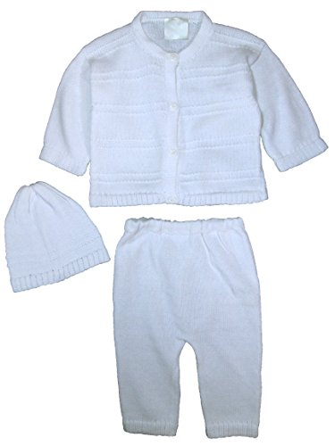 Cap Sleeve Cotton Sweater (100% Cotton Knit Baby Boys 3 Piece Button Up Sweater with Pants and Cap, 9 MO)