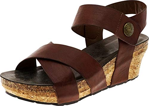 Cambridge Select Women's Open Toe Crissscross Strappy Chunky Cork Platform Wedge Sandal,8 B(M) US,Whiskey PU