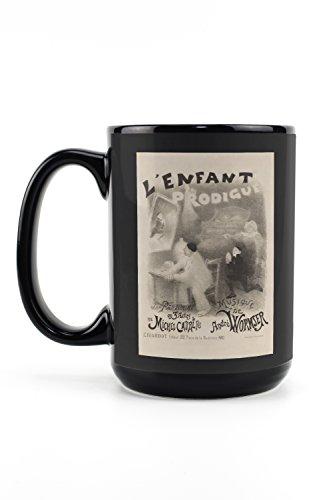 L'Enfant Prodigue Vintage Poster (artist: Willette) France c. 1890 (15oz Black Ceramic Mug - Dishwasher and Microwave Safe)