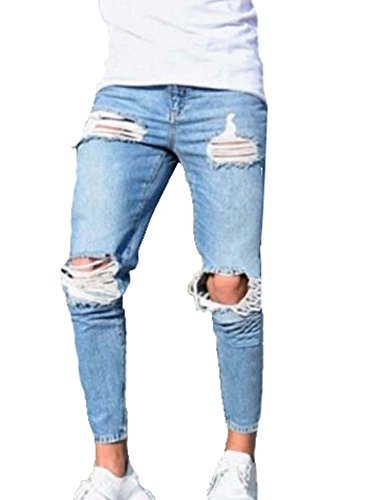 Pantaloni Cerniera Slim Strappati Uomo azzurro Azzurro Fit Jeans Da Con Denim Elasticizzati Skinny Hellomiko Uomo fxwqd7Zf
