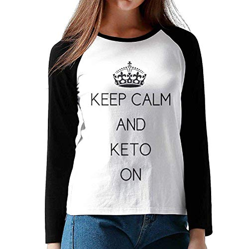 ea2b80c2 LIRUKOKO Paleo Diet Keto Women's Raglan Long Sleeve T Shirts Round Neck Baseball  T-Shirt