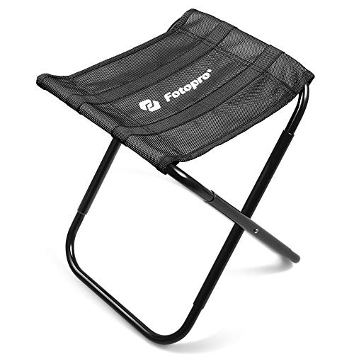 Fotopro Folding Chair, Mini Fold Up Stool for Camping, Fishing, Travel, Picnic, Hiking, Lightweight Sturdy Chair with 410D Oxford Cloth, Storage Bag (Black) ()