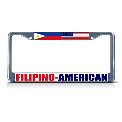 Filipino American Metal License Plate Frame Tag Border Two Holes Perfect for Men Women Car garadge Decor