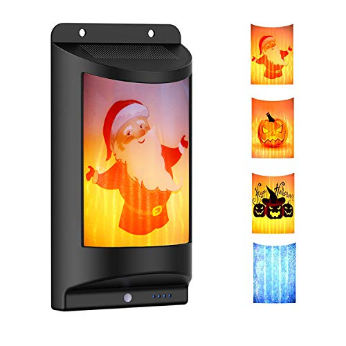 Halloween Flames Wall Light Solar Outdoor with 4pcs Replaceable Theme Pattern Warm and White Color Flickering Flame Lights Dark Sensor for Garden Driveway Pathway Stairs Fence