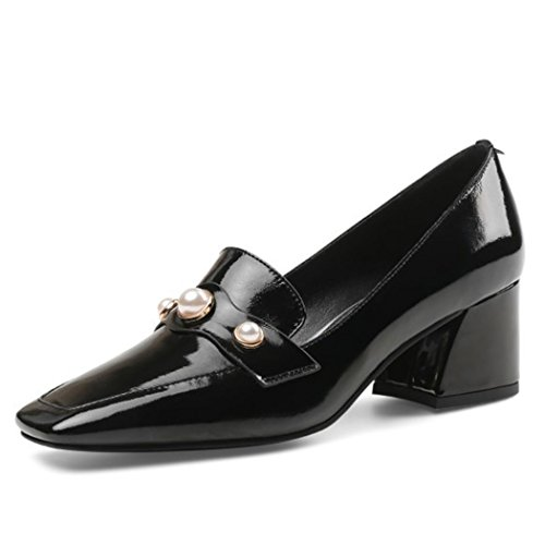 GAOLIXIA Zapatos de Mujer Zapatos de Tacón Alto Rhinestone Mediados de Tacón Alto Zapatos de Trabajo Zapatos Moda Británica Zapatos Casuales Negro Mostaza Amarilla Negro