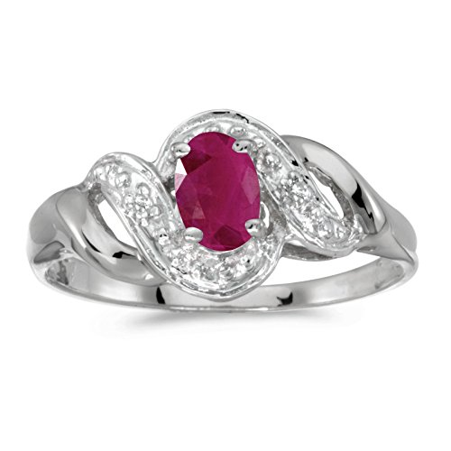 FB Jewels 10k White Gold Genuine Red Birthstone Solitaire Oval Ruby And Diamond Swirl Wedding Engagement Statement Ring - Size 10 (0.36 Cttw.) ()
