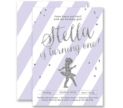 Ballerina Birthday Invitations Girl Lilac Striped Silver Glitter Look Any Age Personalized Boutique Invites with Envelopes- Stella (Glitter Twinkle Silver Shoes)