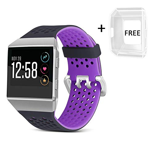 Jobese Compatible with Fitbit Ionic Bands, Breathable Silicone Sports Bands with Crystal Protective Case Compatible with Fitbit Ionic Smart Watch Soft Accessories Wristbands Men Women