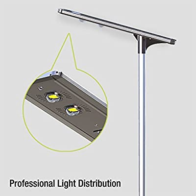 60W Superior Solar/Hybrid Energy Efficient LED Ultra-Powerful Self-Contained Smart Commercial Residential Lighting w/ Mounting System for Building Parking lots Bike Path Street