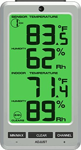 Ambient Weather WS-23-X2 Big Digit 8 Channel Wireless Thermo-Hygrometer with Two Remote Sensors