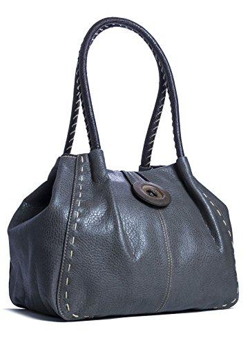 Big Handbag Shop - Bolso al hombro de sintético para mujer One Gris Oscuro