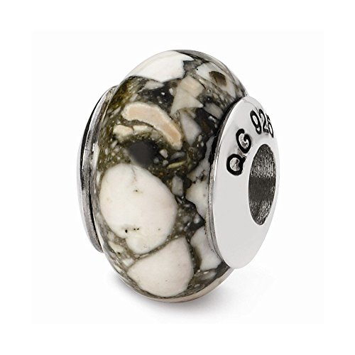 PriceRock Sterling Silver Reflections White Mosaic Magnesite Stone ()