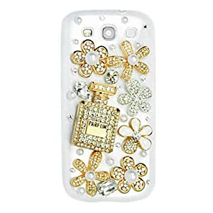 Perfume and Six Flowers Pattern Hard Case with Rhinestone for Samsung Galaxy S3 I9300