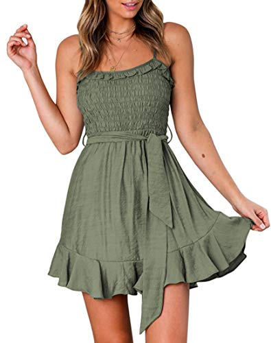 YIBOCK Women's Summer Spaghetti Strap Solid Color Ruffle Hem Tie Waist Backless Mini Dress Army Green