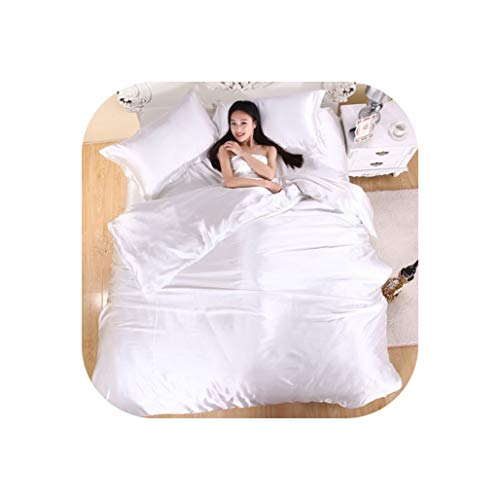 Comforter Sets Silk Bedding Set,Bed Set,Bedclothes,Duvet Cover Flat Sheet Pillowcases,White,King ()