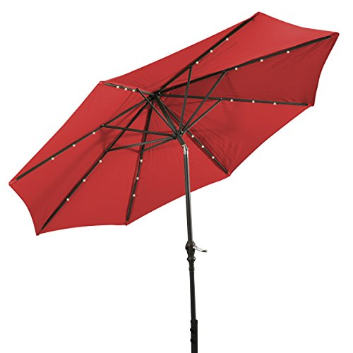 Giantex 10'Patio Solar Umbrella LED Aluminum Patio Market Umbrella Tilt W/ Crank Outdoor Red