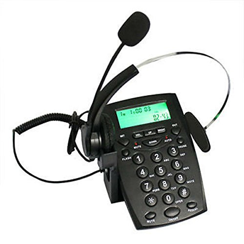 Office Business Phone Dial Pad Call Center LCD Display Telephone Corded Headset from Unknown