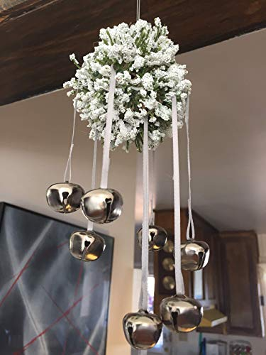 (Unique Lily of the Valley hanging party decoration with 8 adjustable silver bells | Minimalist ornament | Party ball | Birthday or holiday ornament | Party decoration | Home decor | Ready to Ship!)