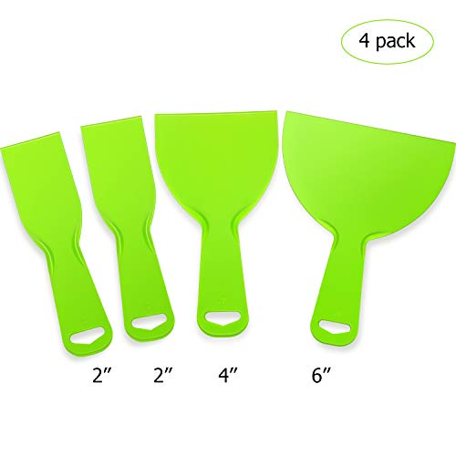 4 Pieces Plastic Putty Knife Set, Flexible Scraper Tool for Decals, Wallpaper, Painting, Wall and Car Putty (4, Set 1)