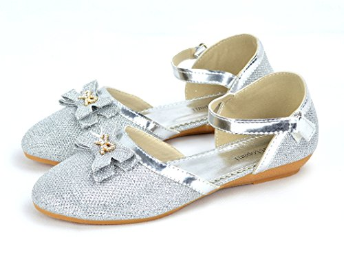 Girl's Shiny Party Shoes with Buckle . White VULHQ