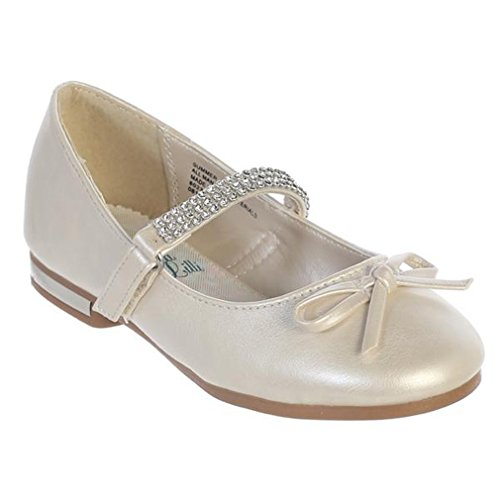 iGirldress Girls Flats With Rhinestones Strap Mary Jane Dress Shoes Ivory Size -