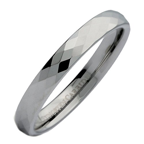 MJ Metals Jewelry 3mm Honeycomb Ring with Diamond Pattern Tungsten Carbide Wedding Band Size 9.5 - 3mm Engraved Band