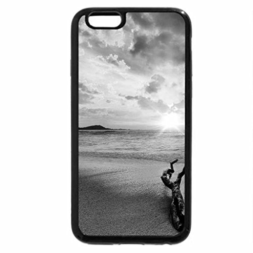 iPhone 6S Plus Case, iPhone 6 Plus Case (Black & White) - driftwood on a beach at sunrise