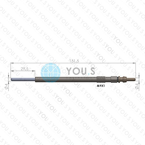 4 St/ück YOU.S Orignal Gl/ühkerze L/änge 11.0 V 151,5 mm Spannung 1214034