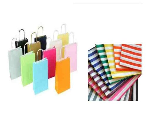 5 x BRIGHT MIXTURE OF PARTY PAPER GIFT BAGS – EACH WITH A MATCHING CANDY STRIPE SWEET BAG