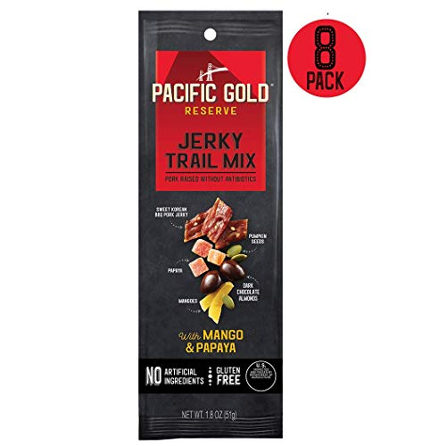 Blended Trail Mix - Pacific Gold Reserve Sweet Korean BBQ Pork Jerky Trail Mix with Mango and Papaya, 1.8 Ounce (Pack of 8)