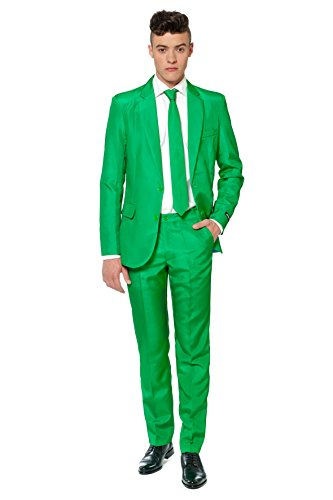 Morph Guy Costume (Mens Costume Party Suit in Solid Colors and Patterns, Includes Jacket, Pants and Tie (Small, Green))