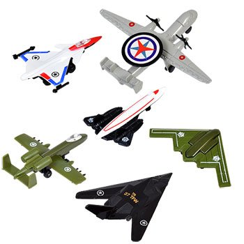 Greenbrier 6 Air Force toy Airplanes diecast metal and plastic airplanes boy gift pack Party kits 3 packs =6 planes total