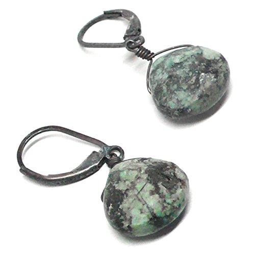 Turquoise Jasper Briolette Sterling Silver Lever Back Earrings Oxidized